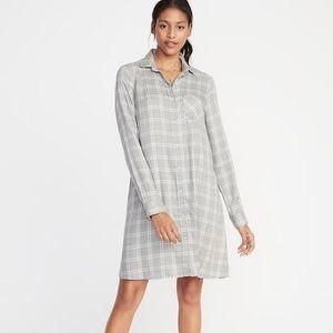 💜2/$30! Old Navy Button Down Shirt Dress Plaid